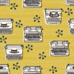 Typewriter wallpaper in Mustard, available from Spoonflower