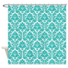 Turquoise Damask Shower Curtain