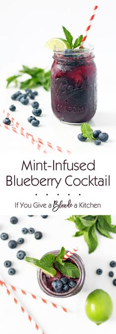 Mint-infused blueberry cocktail is refreshing, subtly sweet and gets you just the right amount of tipsy. This recipe is a must for summer!