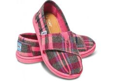 TOM'S CHILDREN'S PINK WOOL PLAID CLASSIC SHOE IN US TINY SIZE 10