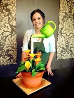 Flower pot cake with watering can. ABSOLUTELY LOVE IT!!!