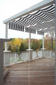 Awning patio pergola covers are in fashion now and people like to make this awning pergola in their house to have shelter against rain and sunshine. Awnings are attached to the house to give protection from the sun light but pergola is detached from Exterior Remodel, Deck Shade, Shade Trees, Deck Design, Outdoor Living, Outdoor Design, Decks And Porches