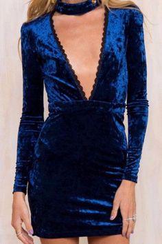 Plunge V-Neck Halter Velvet Dress