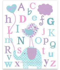 Nursery Art Alphabet Letters ABC Print Aqua Pink and Purple Lavender Bird Elephant Nursery Art Baby Room Decor Balloon 8 x 10 or 11 x 14 on Etsy, $15.00