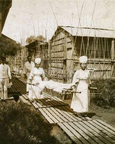 Japanese Red Cross nurses carry a patient on a stretcher. –1900s  -- 65 Photos of Vintage Nurses—Nurses Through the Centuries #nursebuff #nurse #vintage