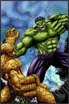 #Hulk #Fan #Art. (Hulk vs Thing) By: Logicfun. (THE * 5 * STÅR * ÅWARD * OF: * AW YEAH, IT'S MAJOR ÅWESOMENESS!!!™)[THANK Ü 4 PINNING!!!<·><]<©>ÅÅÅ+(OB4E)
