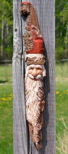 Santa Wood Carving, Hand Carved Original Christmas Wall Hanging, Cottonwood Bark, Home Cabin Rustic Decor, Art Figure, Sculpture by Joan