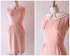 1950s/60s peachy pink gingham dress with peter by SchoolofVintage, $45.00