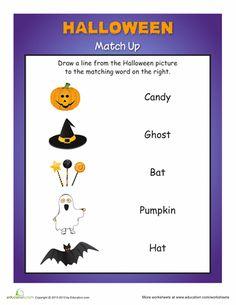 Worksheets: Halloween Matching  Kinders      1st grade