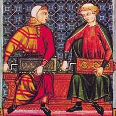 "suonatori di ghironda : miniatura dalle "" Cantigas de Santa Maria "" ( sec. XIII ) di Alfonso X il Saggio. Madrid, Real Biblioteca de El Escorial."