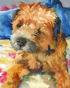 Border Terrier Art Print of Original Watercolor by dogartstudio