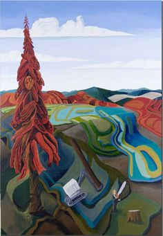 Lawrence Paul Yuxweluptun - painting, title unknown Contemporary Landscape, Contemporary Artists, Modern Art, Western Landscape, Art Curriculum, Landscape Paintings, Landscapes, Indigenous Art, Winter Art