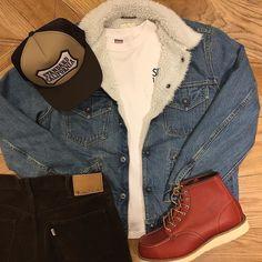 SD Denim Boa Jacket S997 Vintage Wash. #standardcalifornia #スタンダードカリフォルニア #denimjacket #boajacket #redwing