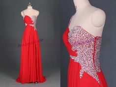 2014 long red chiffon prom dresses with by PrincesssBride on Etsy, $139.00