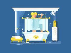 Singing in shower by Anton Fritsler (kit8) - Dribbble
