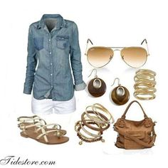 Casual spring/summer outfit - I'm thinking I need a jean button up Mode Chic, Mode Style, Look Fashion, Fashion Outfits, Womens Fashion, Fall Fashion, Woman Outfits, Fashion 2015, Fashion Trends