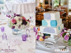 Pops of purple and lavender on an all white table.  Real Nantucket Wedding - Robbi & Jason at the White Elephant. Floral Design: Soiree Floral Photography: Zofia & Co.  See more on the blog! www.blog.soireefloral.com  #nantucket #soiree #floral #purple #centerpieces