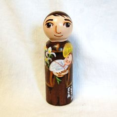 Catholic Saint Toy - St Anthony of Padua Wooden Doll - Made to Order