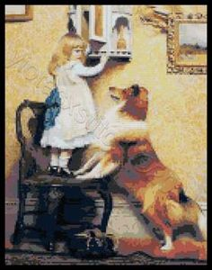 Little girl with sheltie cross stitch kits