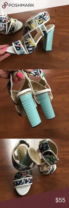 """GX by GWEN STEFANI. NEW with tag. Size 6 Very beautiful and unique Gwen Stefani shoes. Sky blue heels and black and white fabric top. 4"""" heels .  No box.   New. GX by Gwen Stefani Shoes Heels"""