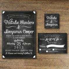 Printable Wedding Invitation - Chalkboard Vintage