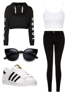 """Untitled #68"" by mya-coles ❤ liked on Polyvore featuring Topshop, Current/Elliott and adidas"