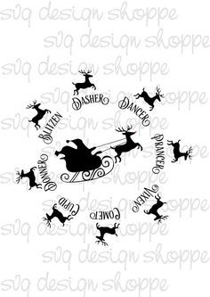 Reindeer Names Rudolph Digital File SVG Cut Files Santa Christmas Cookie Plate Vinyl Ready File Silhouette Cricut Commercial Use