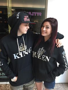 Hey, I found this really awesome Etsy listing at https://www.etsy.com/listing/204517441/2-matching-queen-and-king-black-hoodies