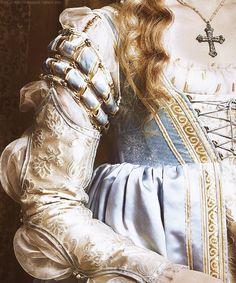 Detail on one of Lucrezia's dresses from season one The Borgias