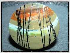 Polymer clay brooch by Davinia-Back Pocket Designs, via Flickr ... love the looseness of this - looks like an oil painting