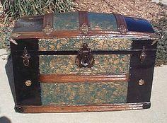 Antique Furniture Strict Large Antique Black Japanned Tin Cabin Trunk