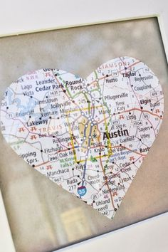 Art Finding your favorite places on a map and cutting them into a heart then turning them into coasters. diy-for-the-super-not-crafty Map Crafts, Diy And Crafts, Arts And Crafts, Going Away Parties, Going Away Gifts, Craft Gifts, Diy Gifts, Little Presents, Love List