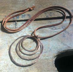Hammered antique Copper Pendant tan brown deerskin cord
