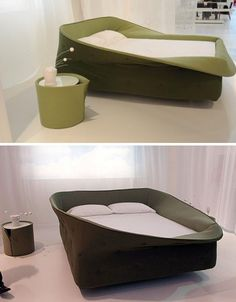 Cozy bed frame with soft sides that you can flip up and down! Seems almost like a nest. But more stylish!