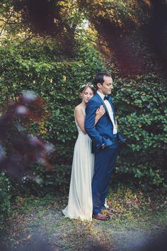 Snorkel Blue Groom Attire and Simple Wedding Dress / http://www.deerpearlflowers.com/30-snorkel-blue-wedding-color-ideas-for-2016/