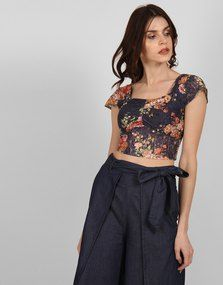 b68792eaaa38c Shop Floral Printed Lace Meghan Ruche Detail Crop Top from Shoprapy !