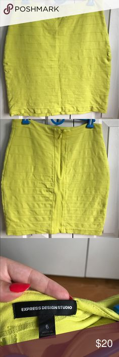 Express Neon Green/Yellow Bandage Skirt - Size 6 Good Condition.  Zippered closure Express Skirts Pencil