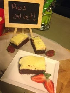 Kris' Kitchen: Red velvet brownies with white chocolate buttercream frosting