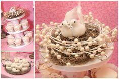 love bird bridal shower cupcake display