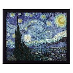 Framed print of Vincent Van Gogh's famous piece, The Starry Night. $89.95 #ZGallerie