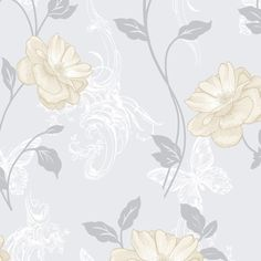 Crown Millie Floral Wallpaper Natural