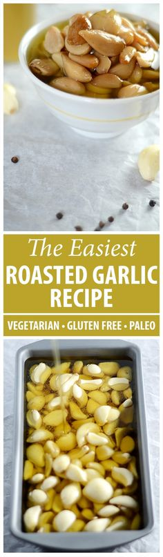 You know by now that I use roasted garlic cloves in almost every recipe. They're very tasty and don't overpower the dish as raw garlic does. And they're so easy to make. I buy bulk pre-peeled garlic to make things easier. I put it in a bread pan, cover it Best Gluten Free Recipes, Other Recipes, Low Carb Recipes, Vegetarian Recipes, Cooking Recipes, Bulk Cooking, Dishes Recipes, Roasted Garlic Cloves, Raw Garlic