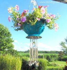 Strainer Planter Wind Chimes - strainer planter wind chimes, container gardening, flowers, gardening, repurposing upcycling The Ef -