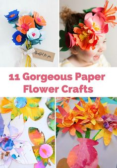 Pretty paper flower crafts from crowns, bouquets and fun flower art project for kids.