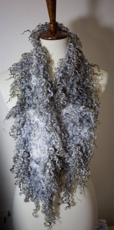 Excited to share the latest addition to my #etsy shop: Beautiful Gotland and Wensleydale Sheep Locks Organic Natural Undyed Merino Wool Scarf Neck Warmer Boa Gift For Her Unique Free Shipping