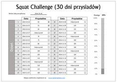 squatt challenge - 30 dni przysiadów. Szablon do pobrania w Excel