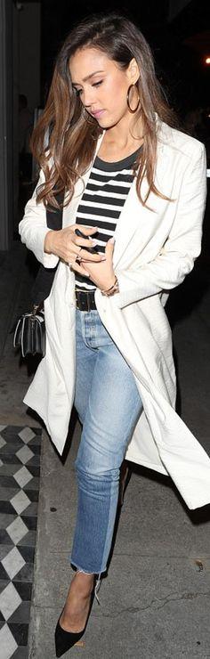 Jessica Alba: Purse – Marni  Belt – Frame  Sunglasses – Olivier Peoples  Shirt – The Great