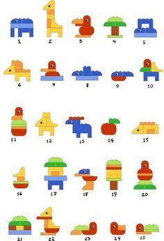 DUPLO animals. Lego en duplo bouwkaarten bouwen building instructions