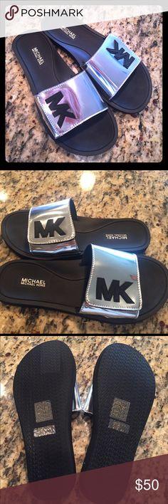 f19fb094e0615 Buy michael kors slides grey   OFF62% Discounted