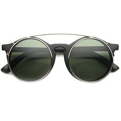 zeroUV  Vintage Inspired P3 Horn Rimmed Crossbar ClipOn Round Sunglasses 52mm Matte BlackGold  Green *** For more information, visit image link.Note:It is affiliate link to Amazon.